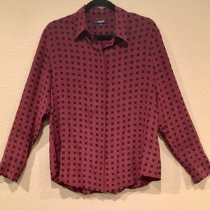 Madewell Burgundy 100% Silk Button Up Blouse, L